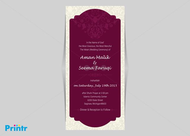Arabic style wedding card customized wedding invitation arabic style wedding card stopboris Images